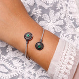 Aparna Green Circular Silver Oxidized Bracelet - Joker & Witch