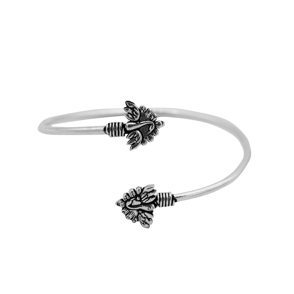 Vetali Peacock Silver Oxidized Bracelet - Joker & Witch
