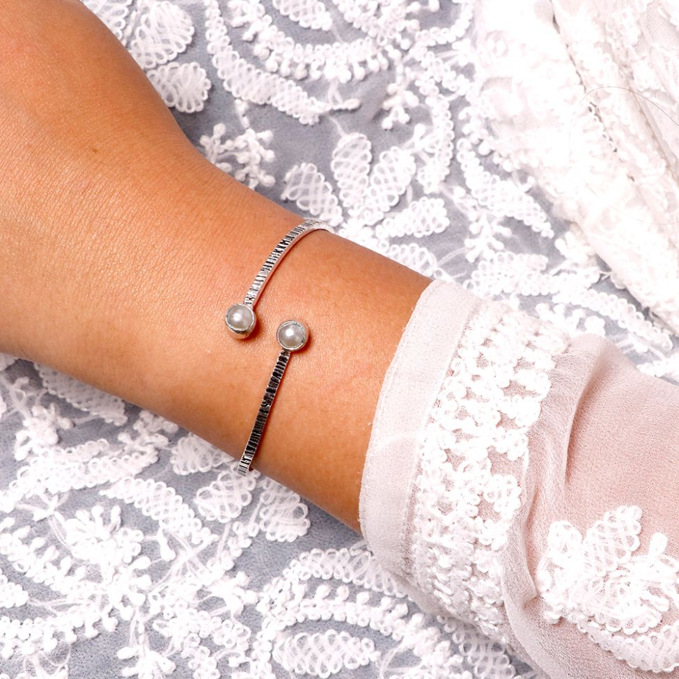 Bhamini White Silver Oxidized Bracelet - Joker & Witch