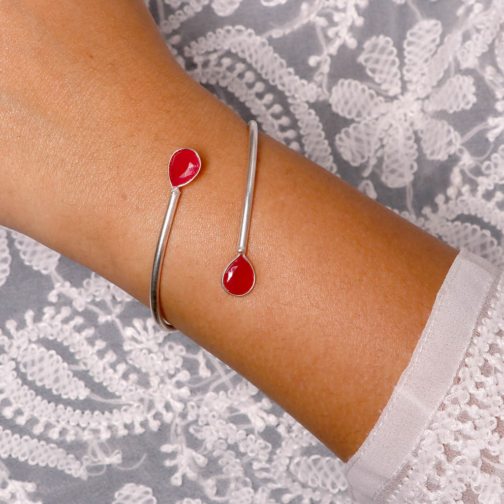Elakshi Red Silver Oxidized Bracelet - Joker & Witch