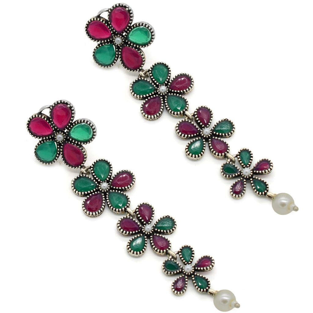 4 Layered Multi colored Floral Silver Earrings - Joker & Witch