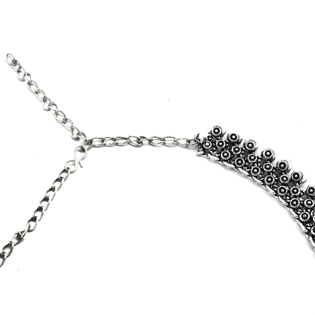 Aahan Silver Oxidized Necklace - Joker & Witch