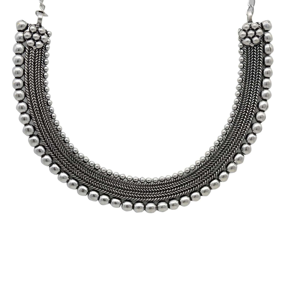 Mira Silver Oxidized Necklace - Joker & Witch