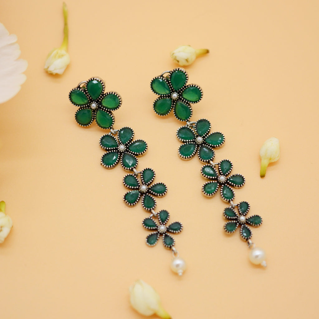 4 Layered Green Floral Silver Earrings - Joker & Witch
