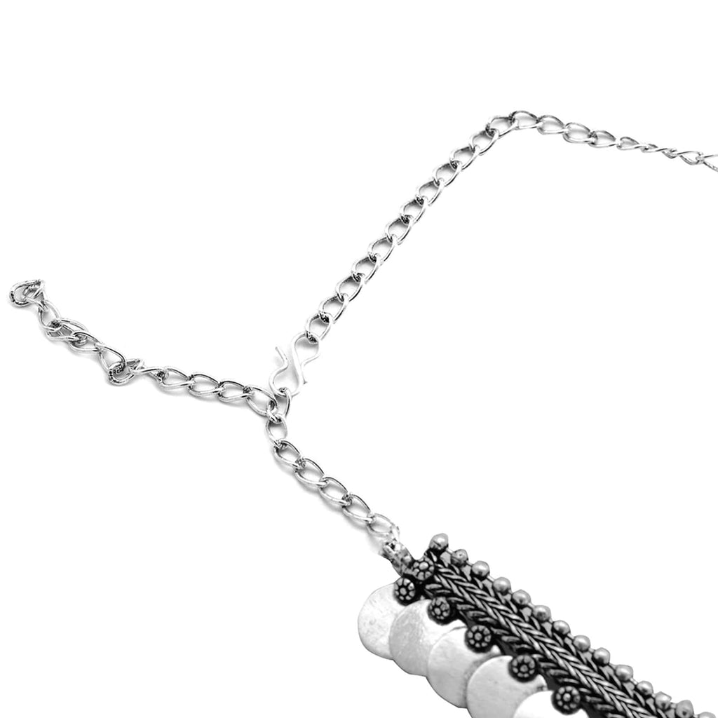 Aashi Silver Oxidized Necklace - Joker & Witch