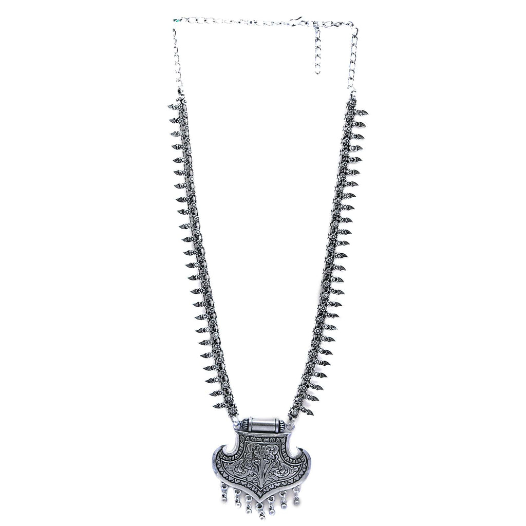 Mayra Silver Oxidized Necklace - Joker & Witch