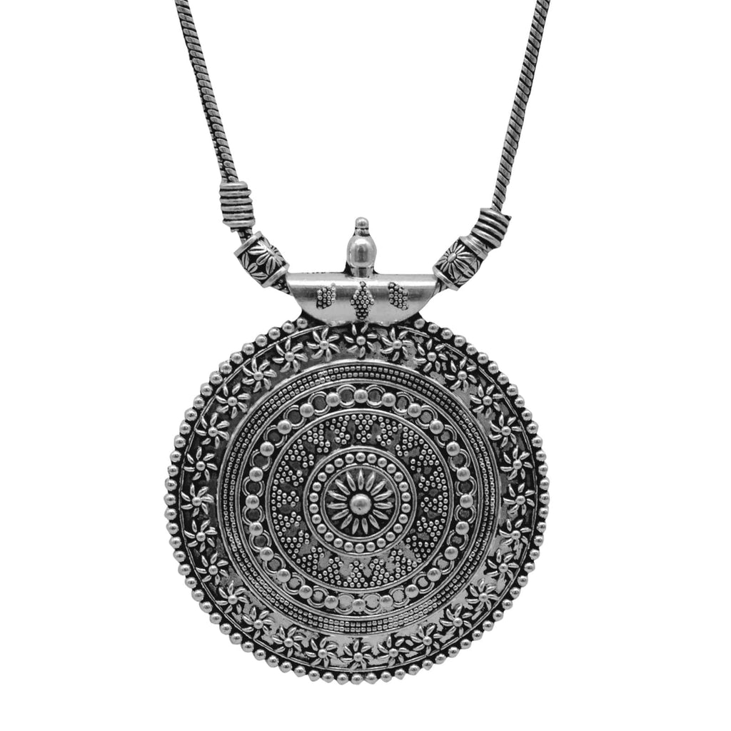 Ishya Silver Oxidized Necklace - Joker & Witch