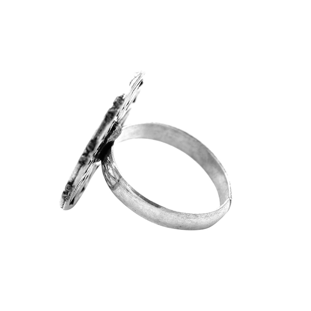Nirav Silver Oxidized Ring - Joker & Witch