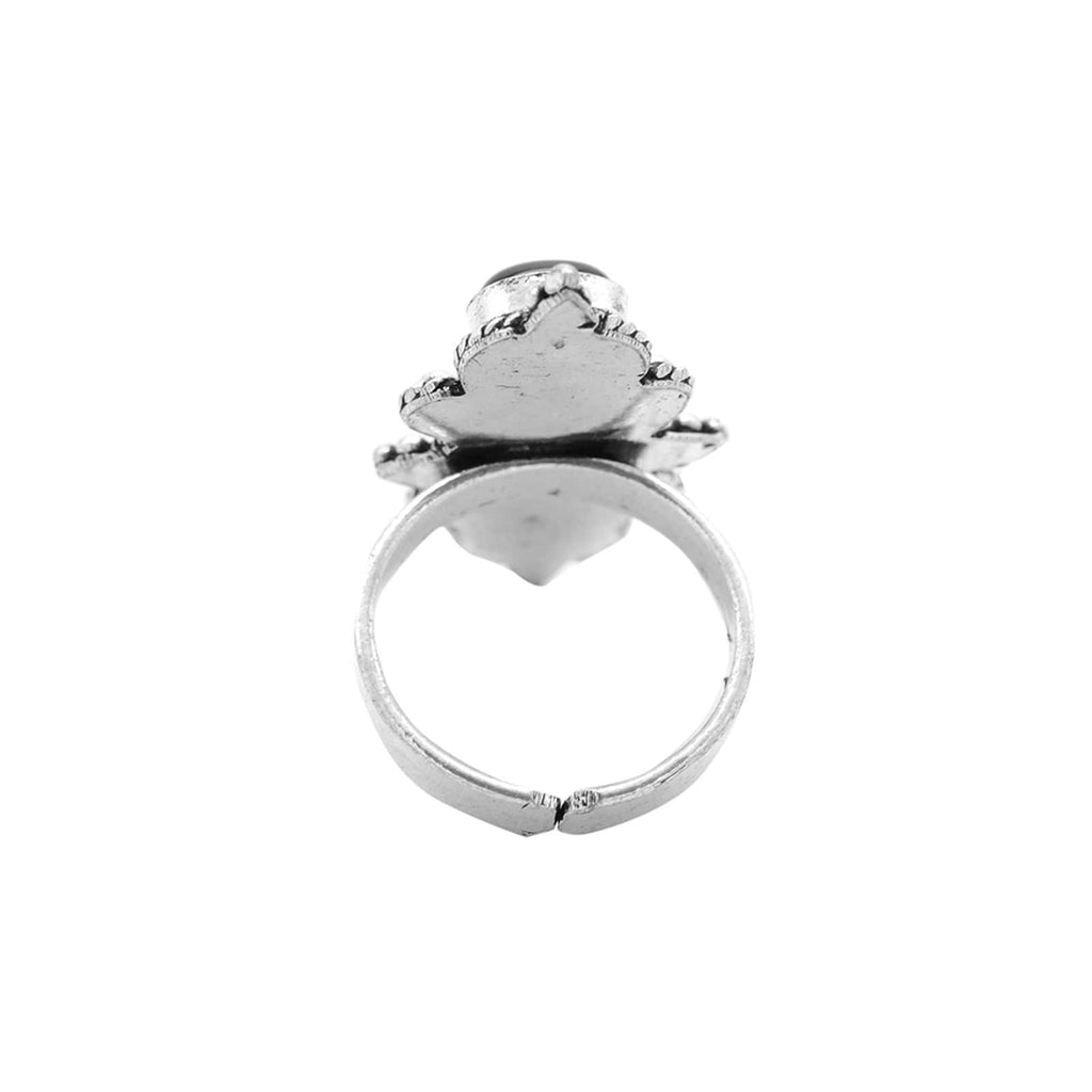 Vedant Black Silver Oxidized Ring - Joker & Witch
