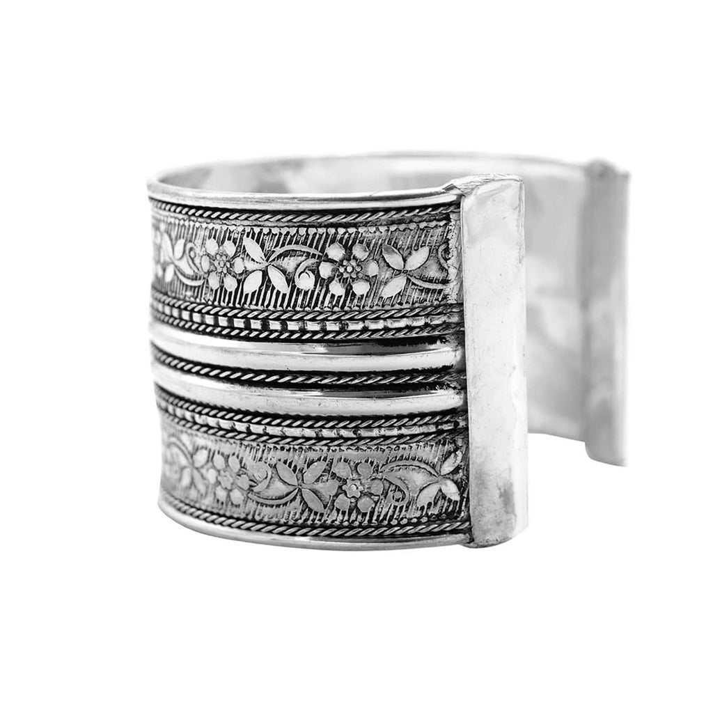 Raksha Floral Embossed Silver Oxidized Cuff - Joker & Witch