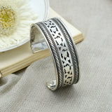 Chaya Floral Embossed Silver Oxidized Cuff - Joker & Witch