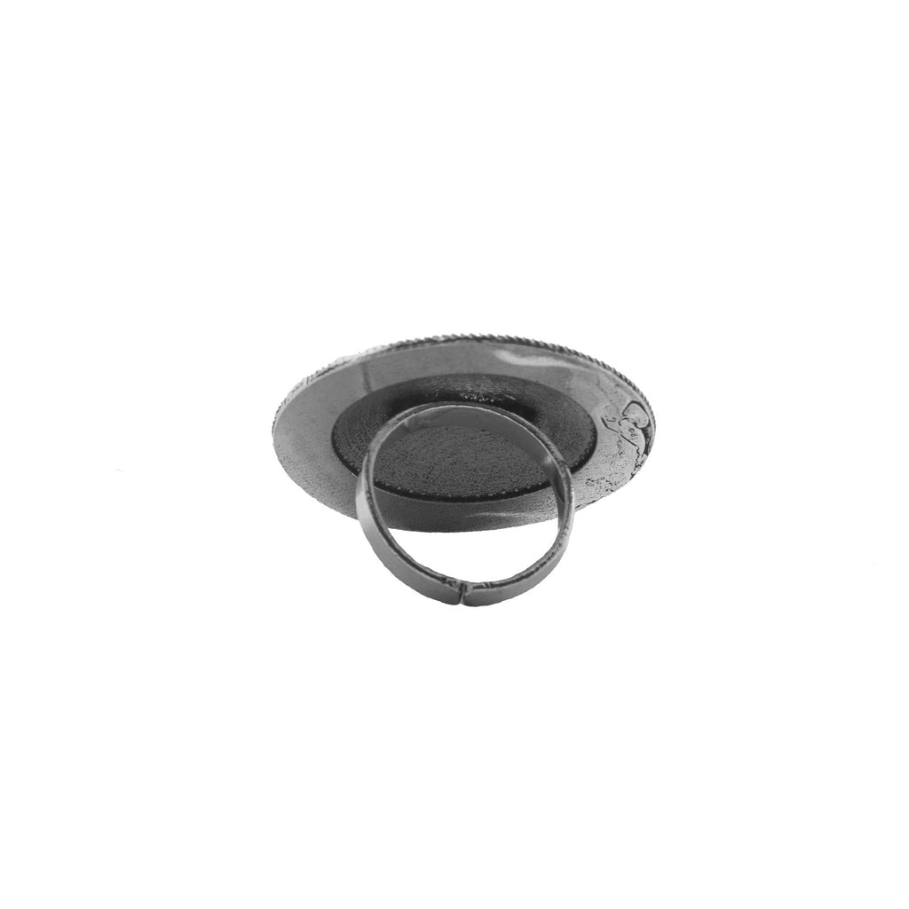 Mishi Floral Silver Oxidized Ring