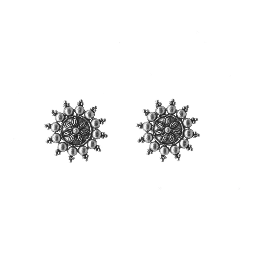 Anu Circle SIlver Oxidized Studs Earrings