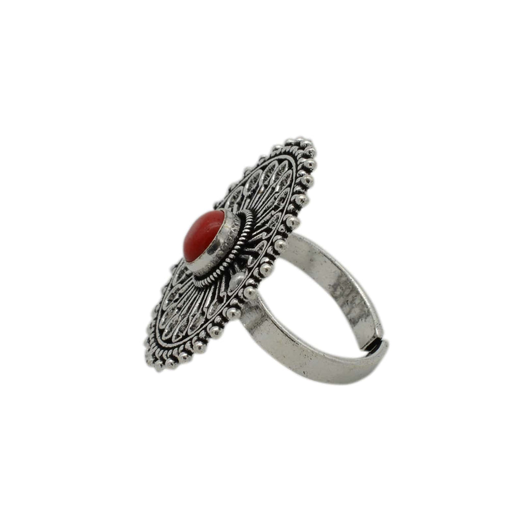 Aruna Red Silver Oxidized Ring - Joker & Witch