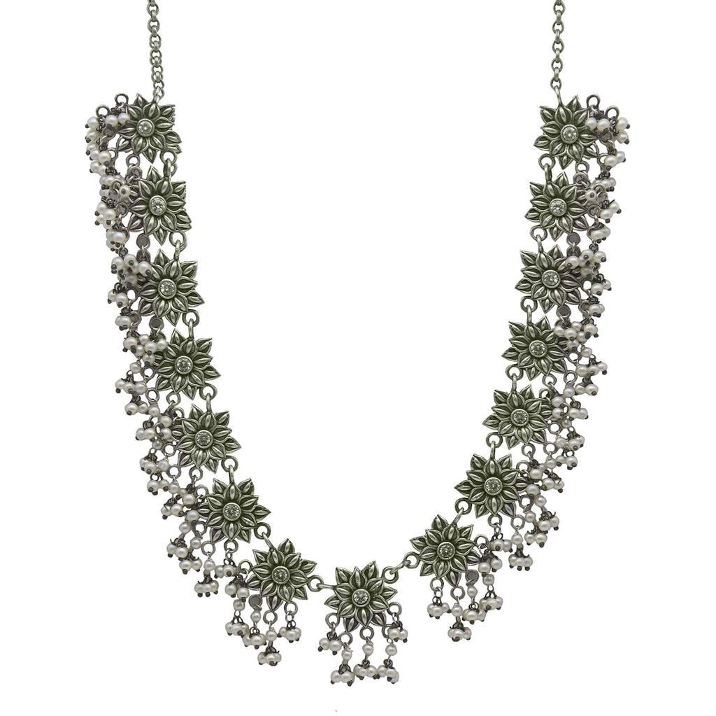 Rumi White Stone Silver Oxidized Floral Necklace Set