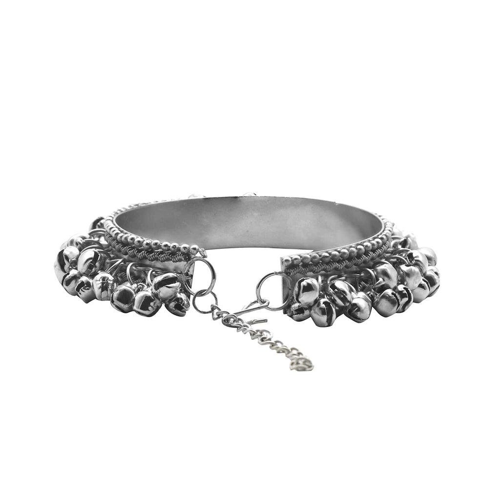 Anusha Silver Oxidized Ghungroo Bangle