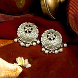 Shruti Floral White Silver Antique Pearl Stud Earrings