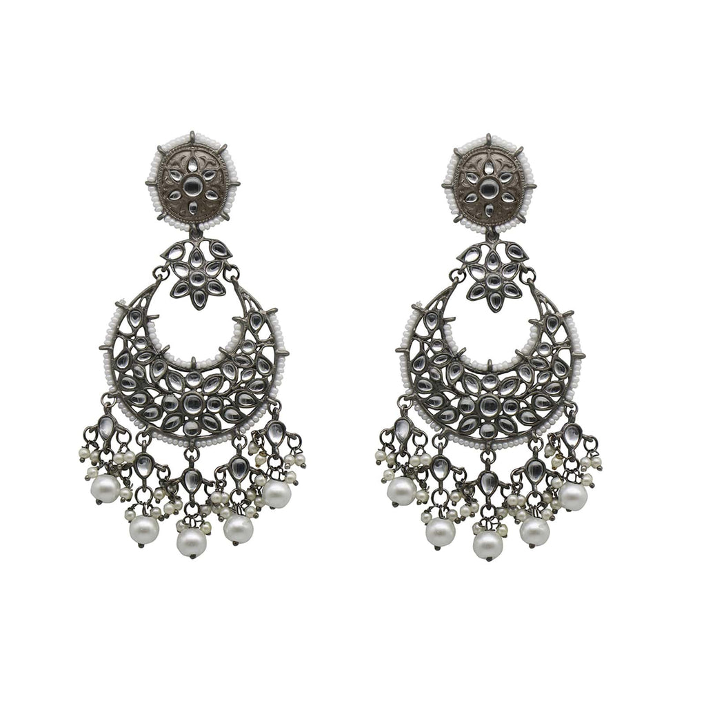 Tulsi White Floral Silver Antique Pearl Chandbali Earrings