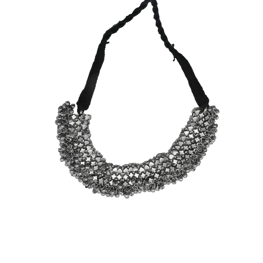 Linked Chain Silver Oxidized Ghungroo Choker Necklace