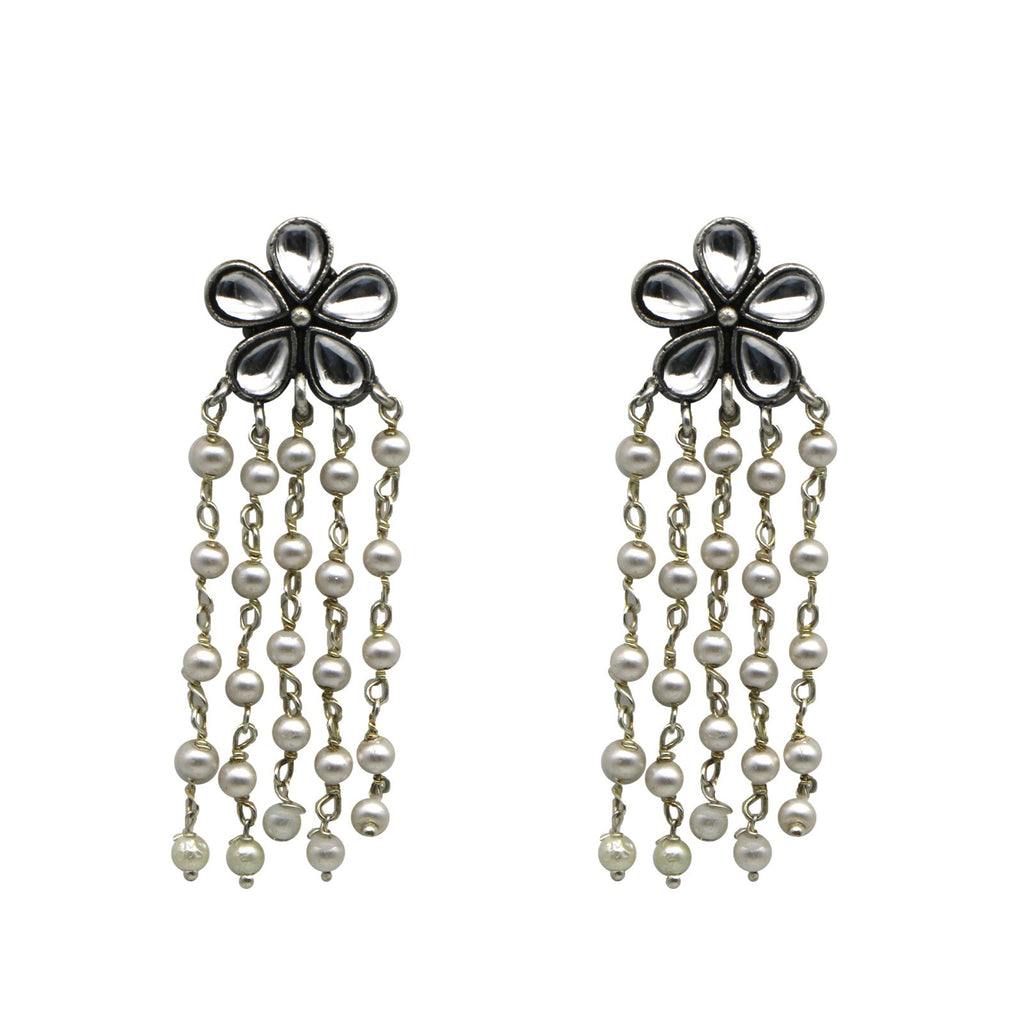 Teejh Blossom Polki Silver Oxidized Pearl Earrings