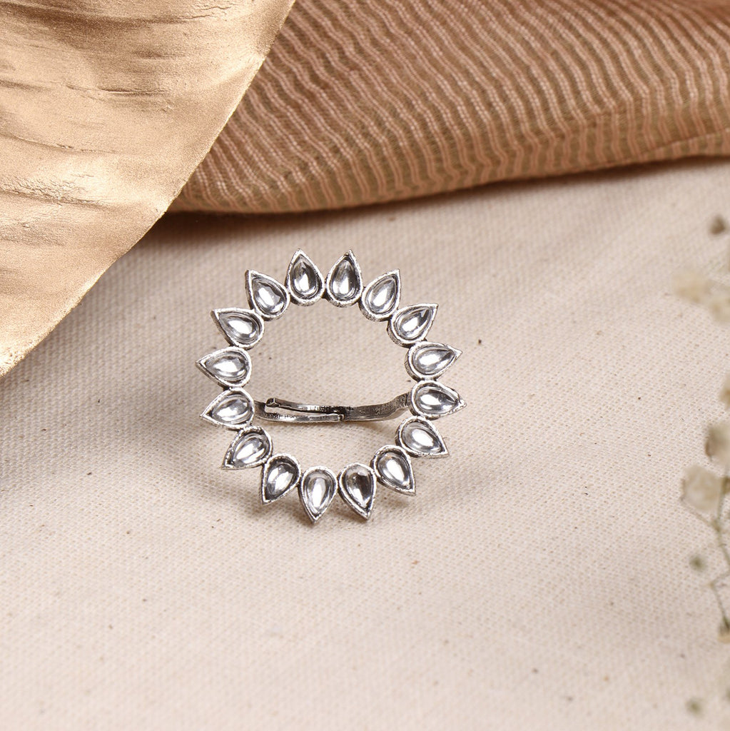 Teejh Loop Polki Silver Oxidized Ring