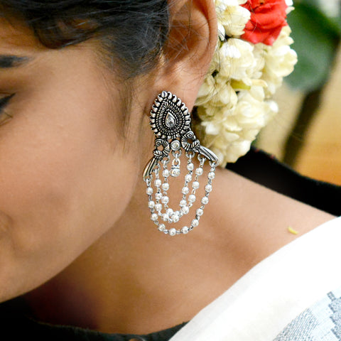 Anvi Floral Polki Silver Oxidized Earrings