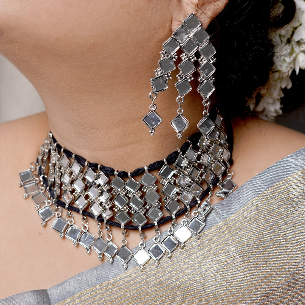 Sanya Mirror Choker Necklace Set