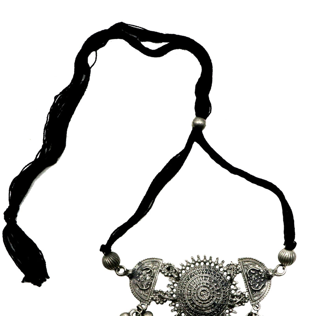 Daksha Silver Oxidised Ghungroo Choker Necklace