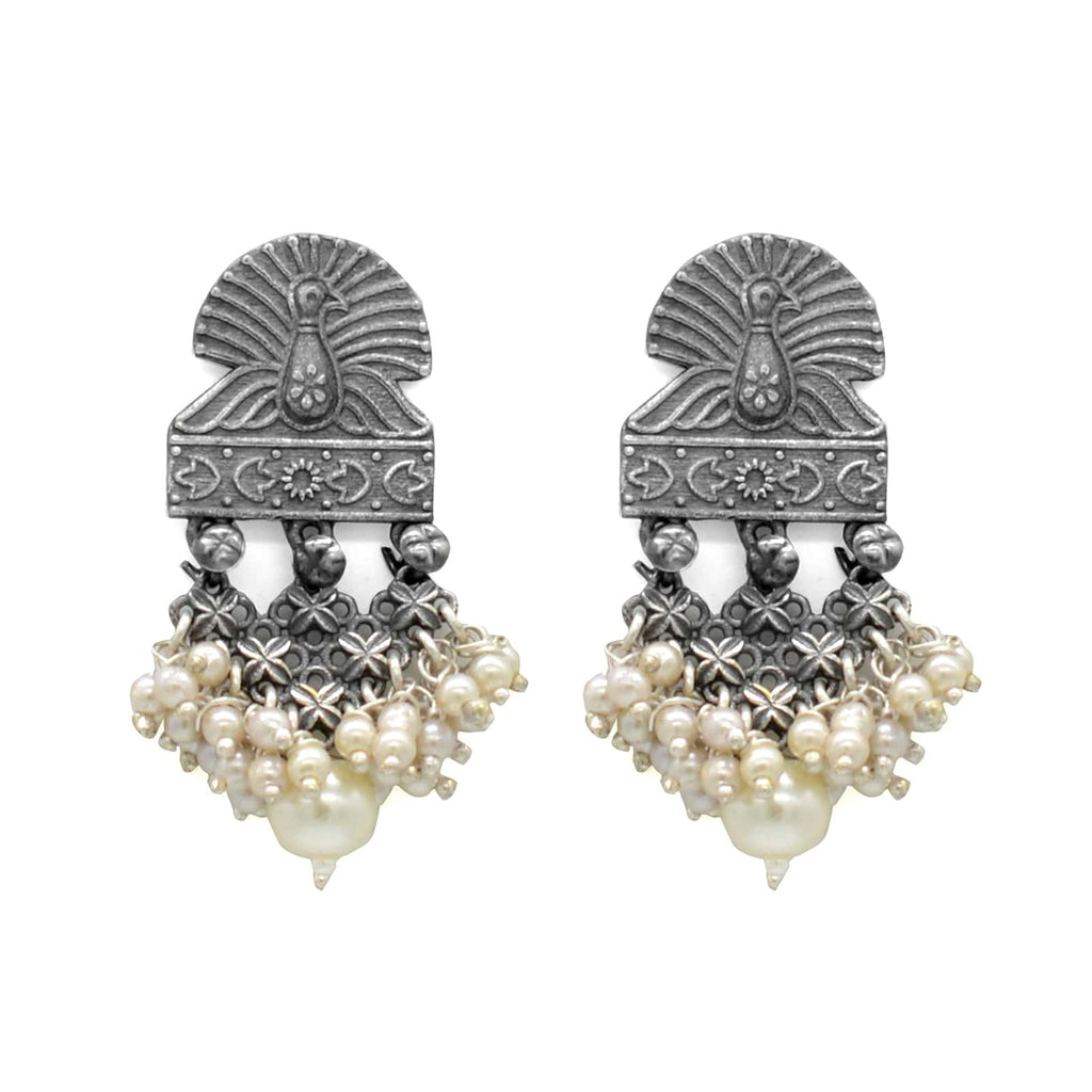 Antique Silver Peacock Pearl Earrings - Joker & Witch