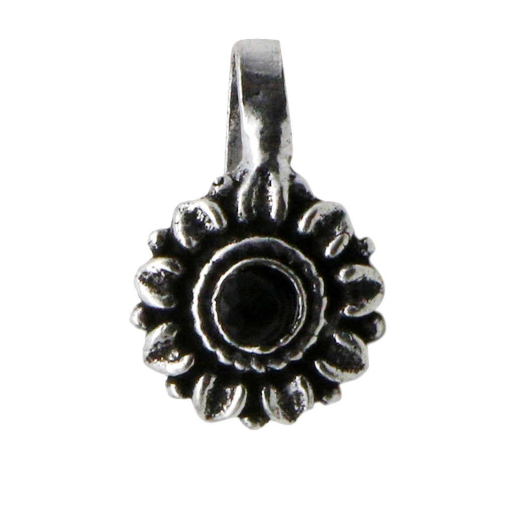 Zia Black Stone Floral Nose pin