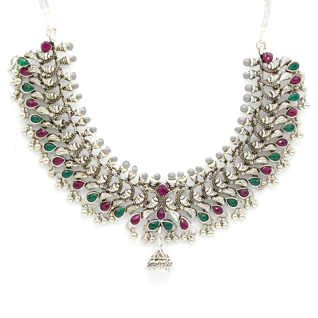 Historic Multi Colored Silver Peacock Pearl  Necklace Set - Joker & Witch
