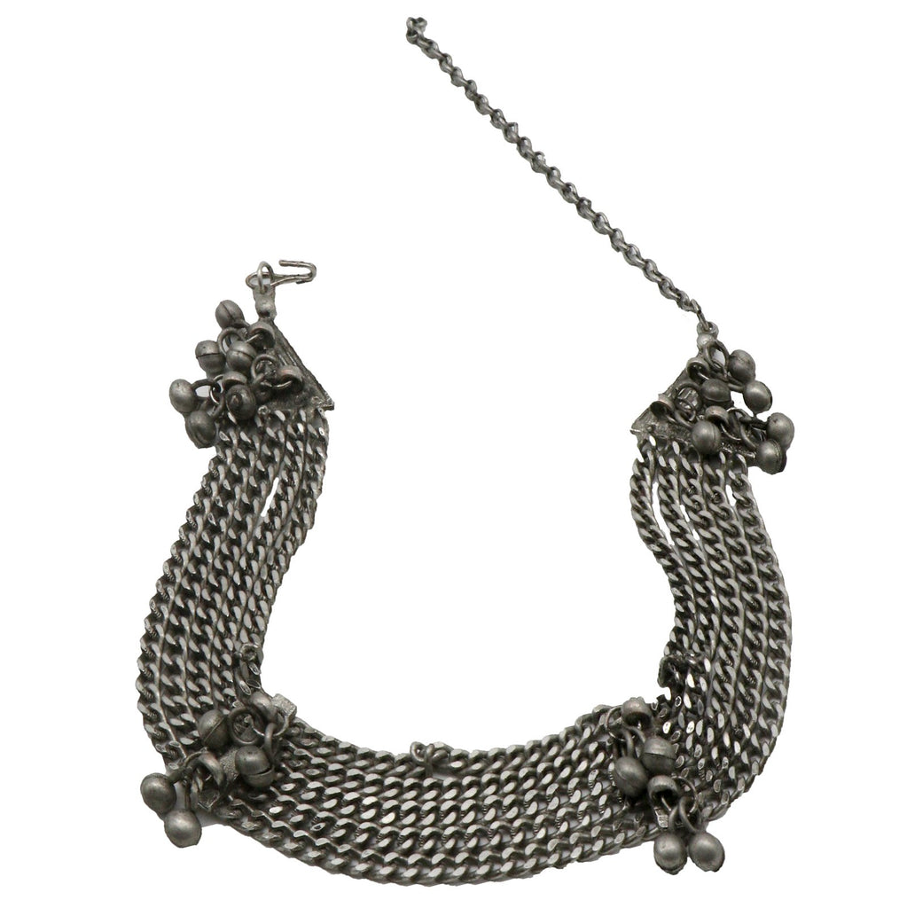 Bhavna Ghungroo Silver Oxidised Chain Necklace