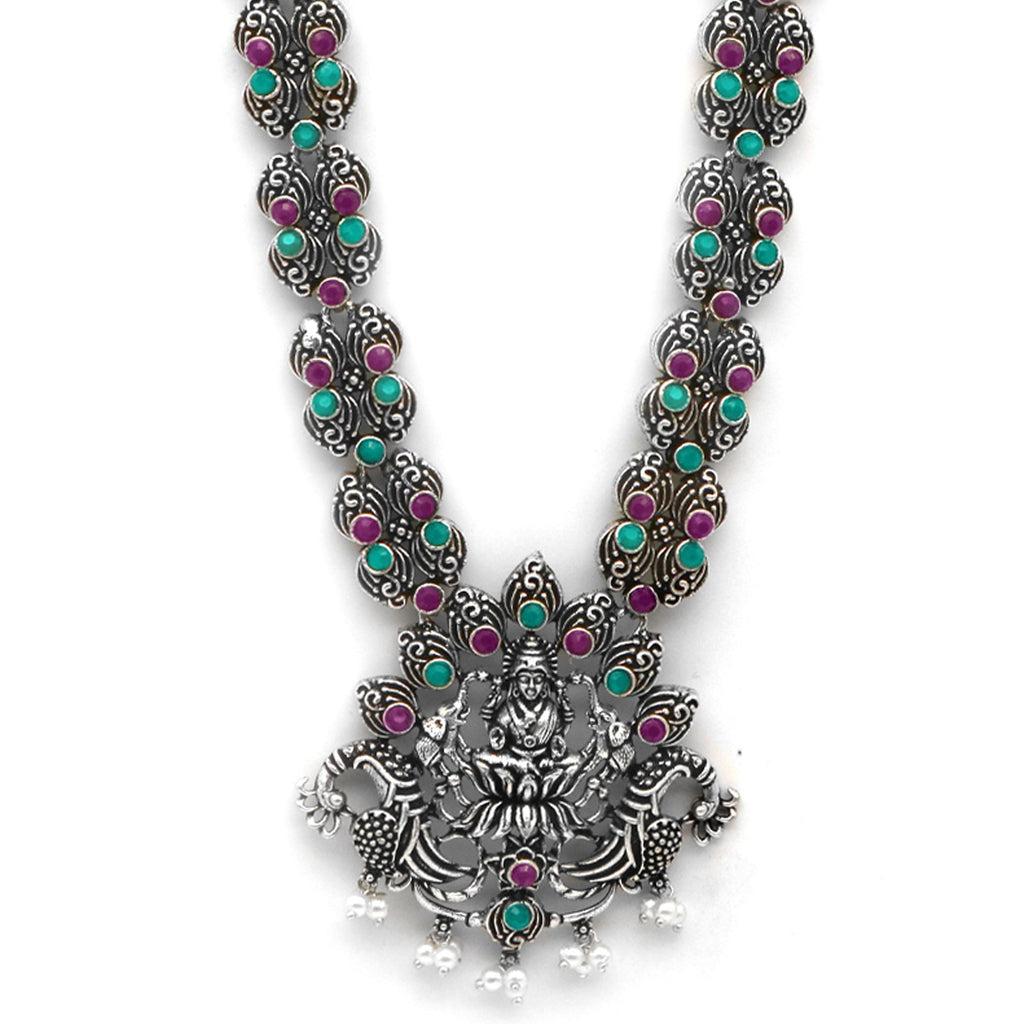 Teejh Ridhi Multi Colored Temple Work Necklace Set