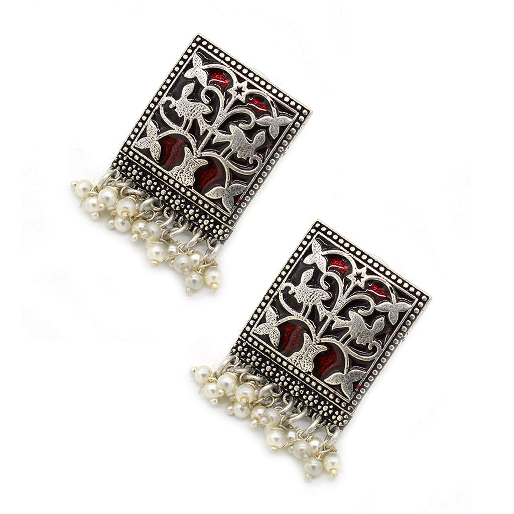 Miniature Red Enamel Silver Earrings - Joker & Witch