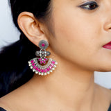 Pankhudi Pink Silver Earrings - Joker & Witch