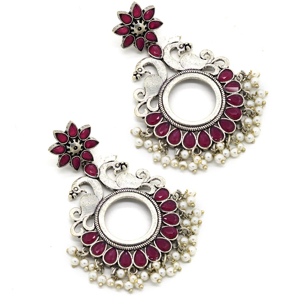 Round Pink Peacock Silver Pearl Earrings - Joker & Witch