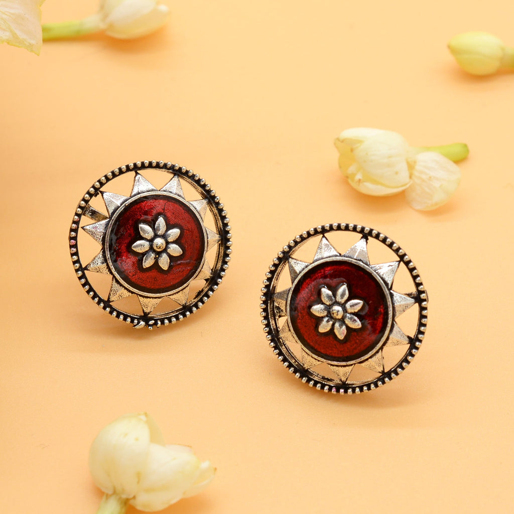 Sitaraa Red Enamel Silver Earring - Joker & Witch