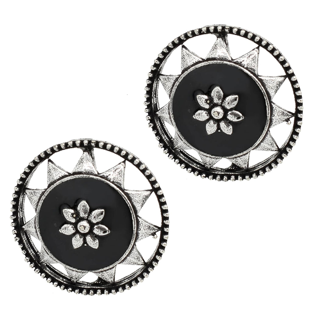 Sitaraa Black Enamel Silver Earring - Joker & Witch