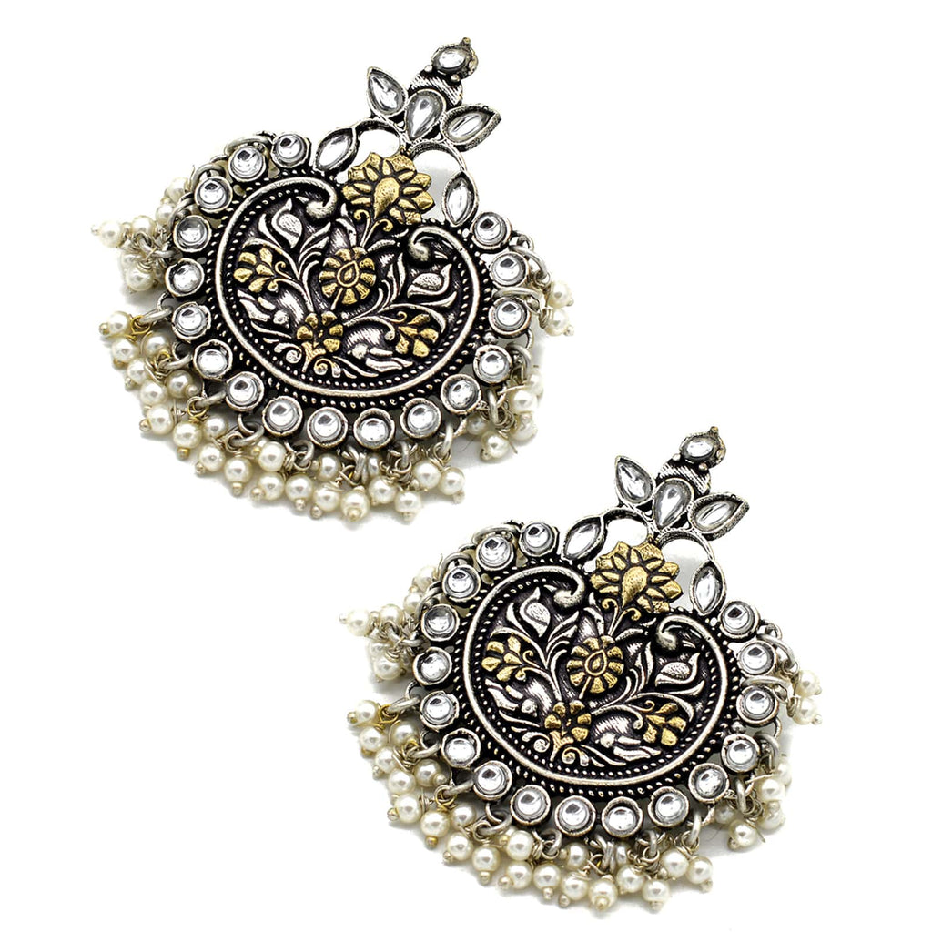 Dual tone Pearl Chandbali Earrings - Joker & Witch