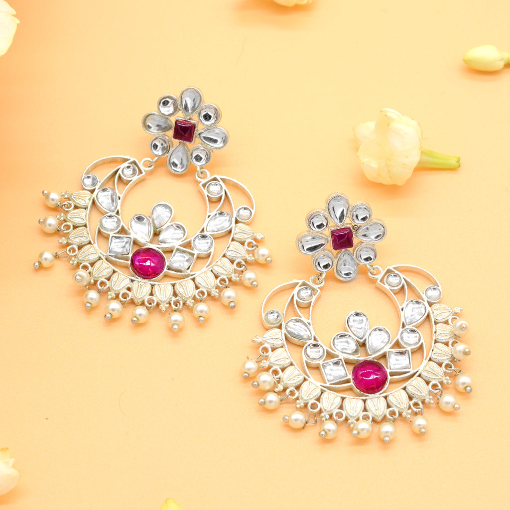 Pink & White Silver Chandbali Earrings - Joker & Witch