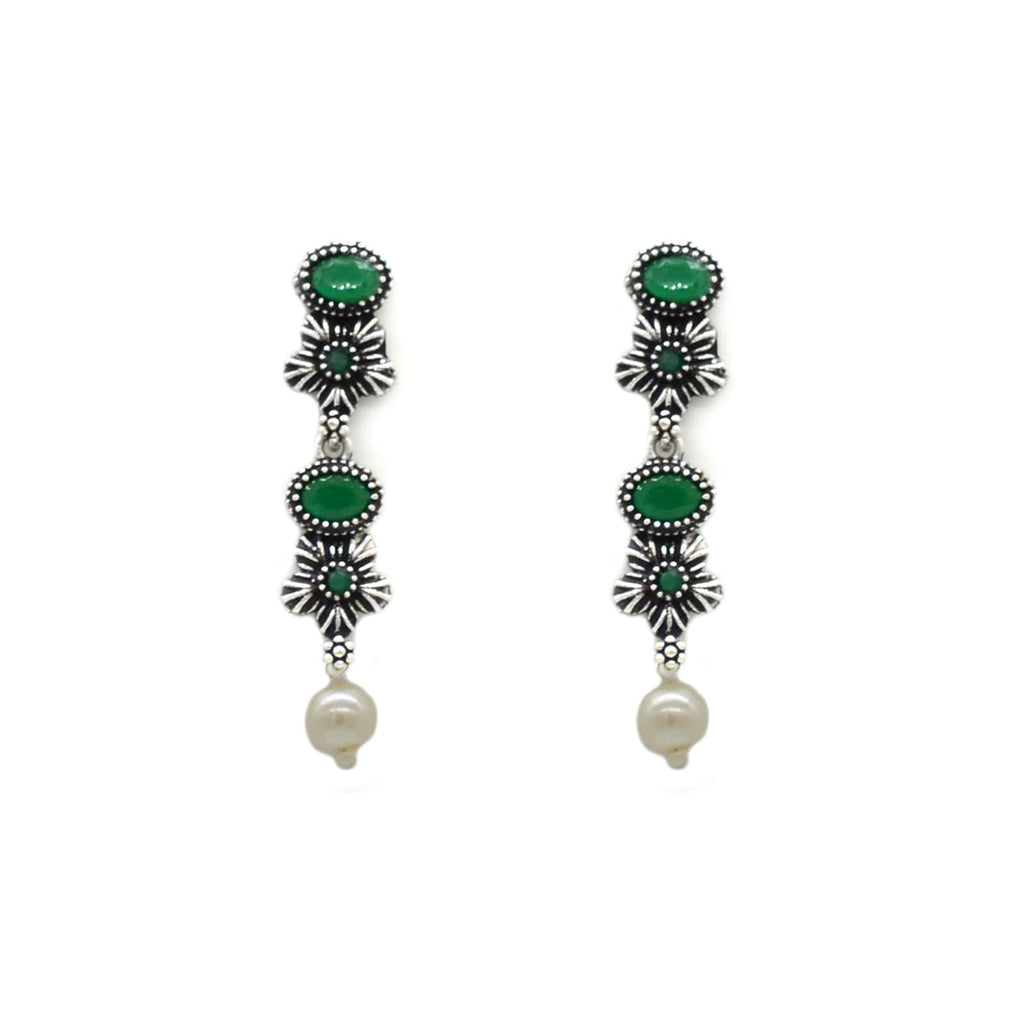 Ekladh Green Stone Silver Pearl Necklace Set - Joker & Witch