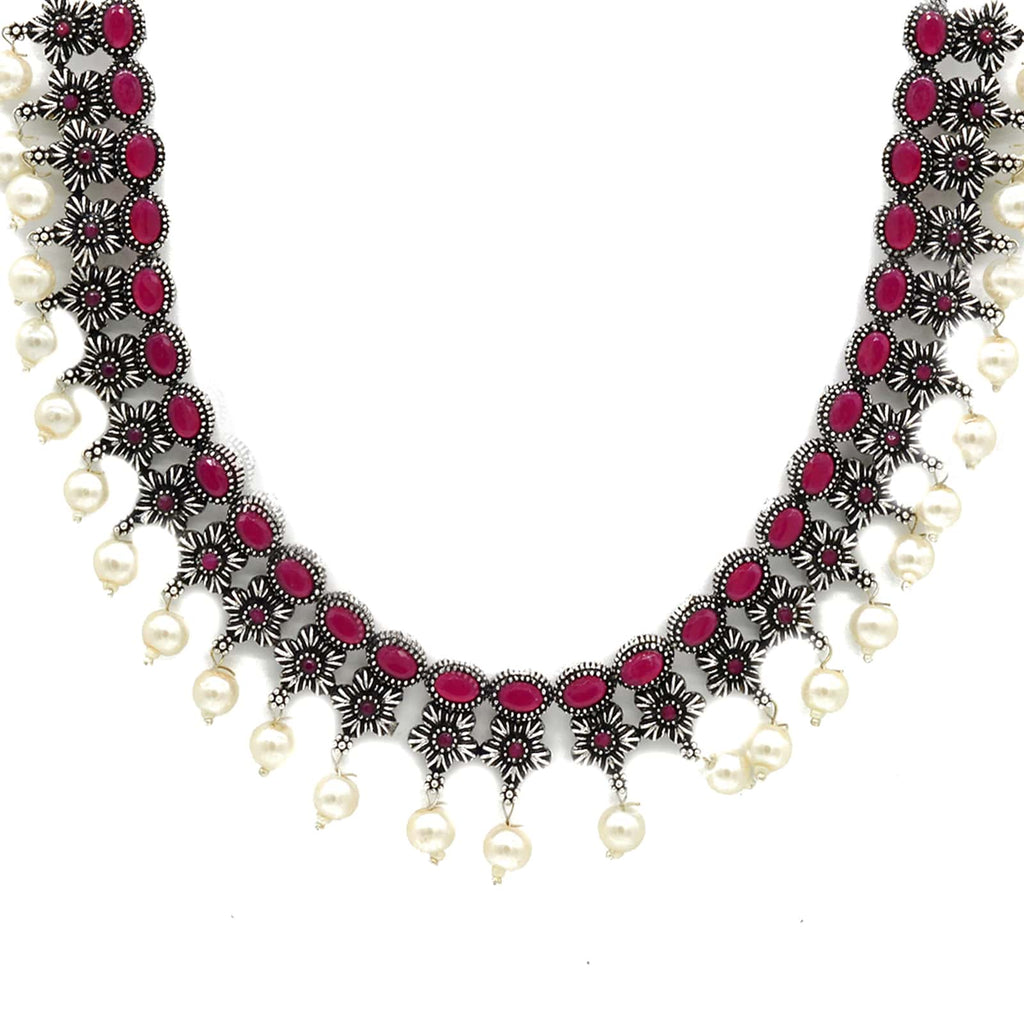 Ekladh Red Stone Silver Pearl Necklace Set - Joker & Witch
