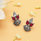 Damru White & Red Stone Cluster Silver Earrings - Joker & Witch