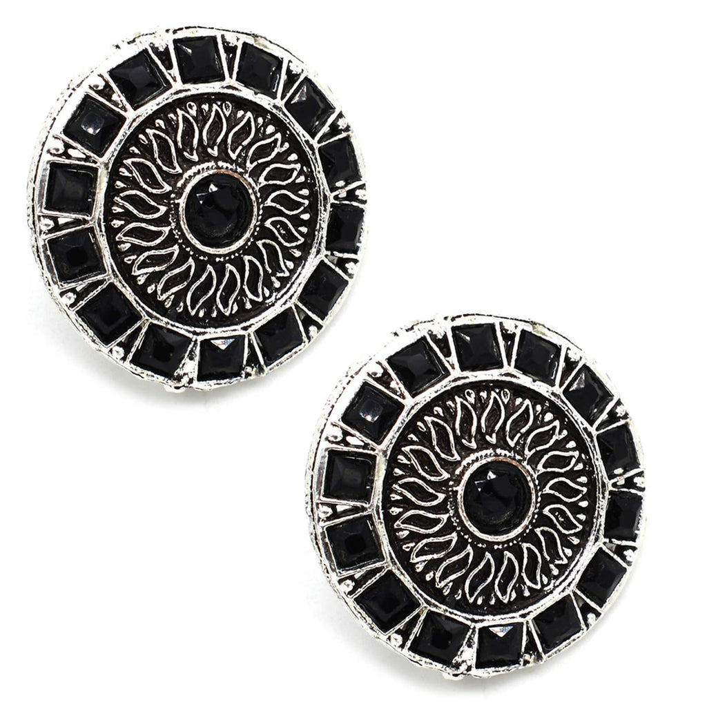 Circula Black Stone Silver Earrings - Joker & Witch
