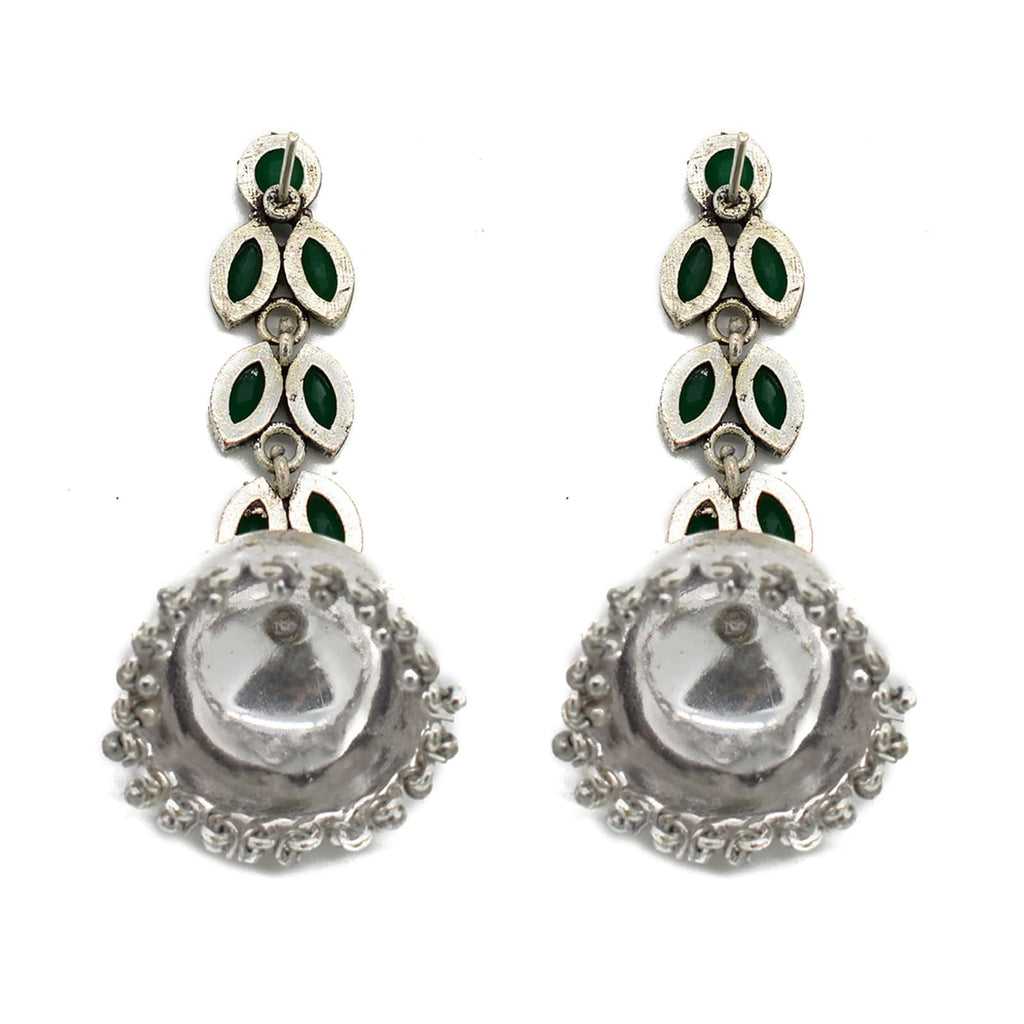 Moksha Green Stone Silver Jhumki Earrings - Joker & Witch