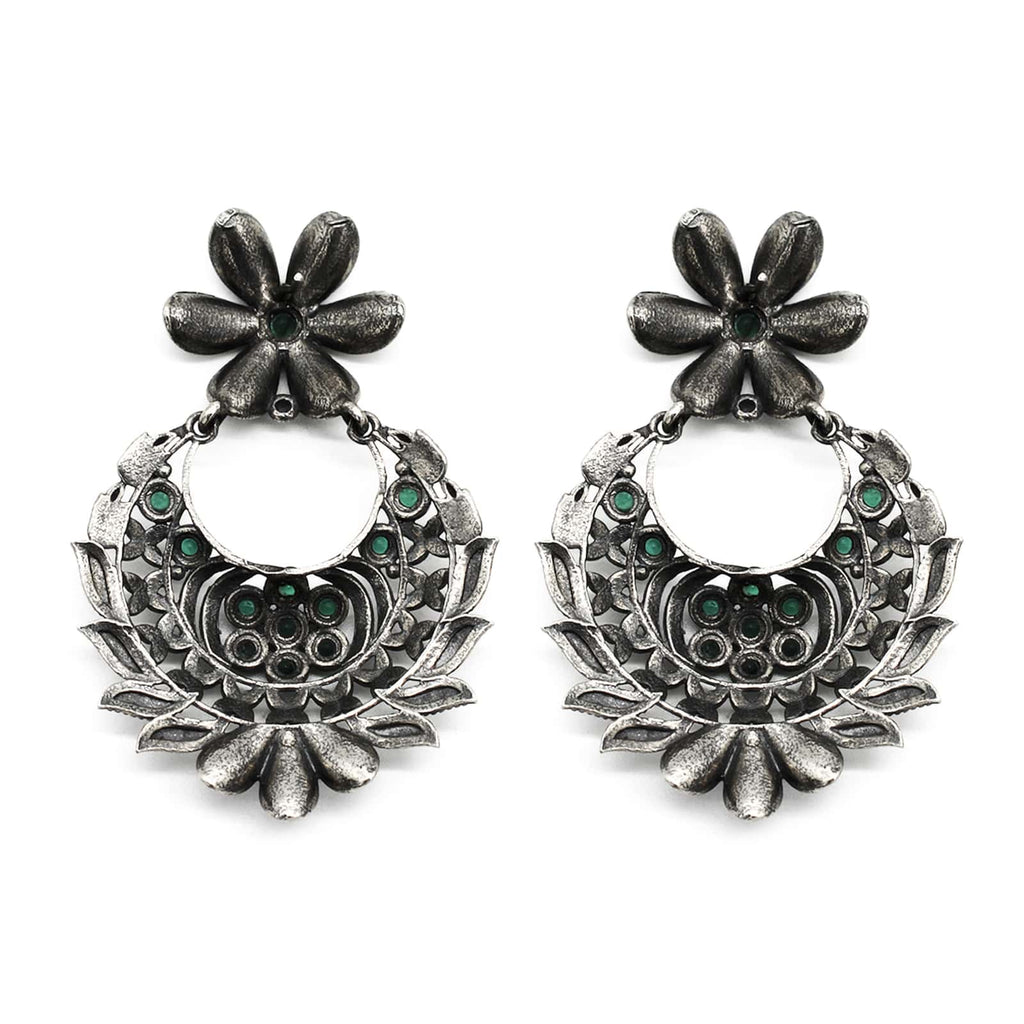Manas Green Stone Silver Floral Earrings - Joker & Witch