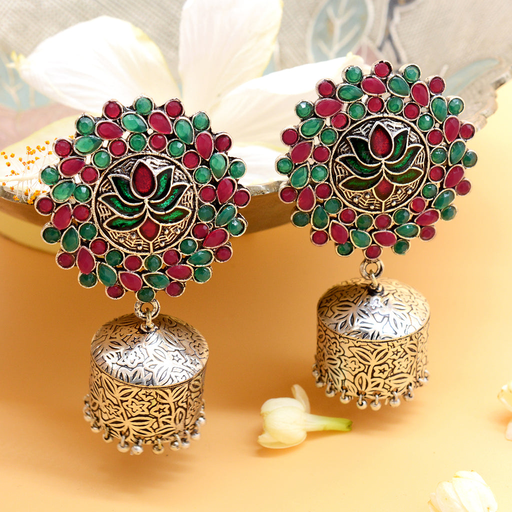 Lotus Multi Colored Silver Jhumki Earrings - Joker & Witch