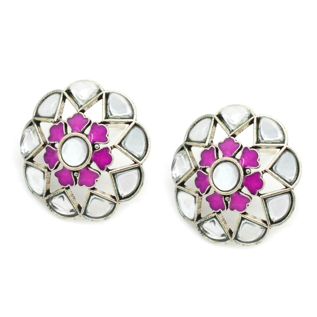 Chakra Polki Pink Silver Earrings - Joker & Witch