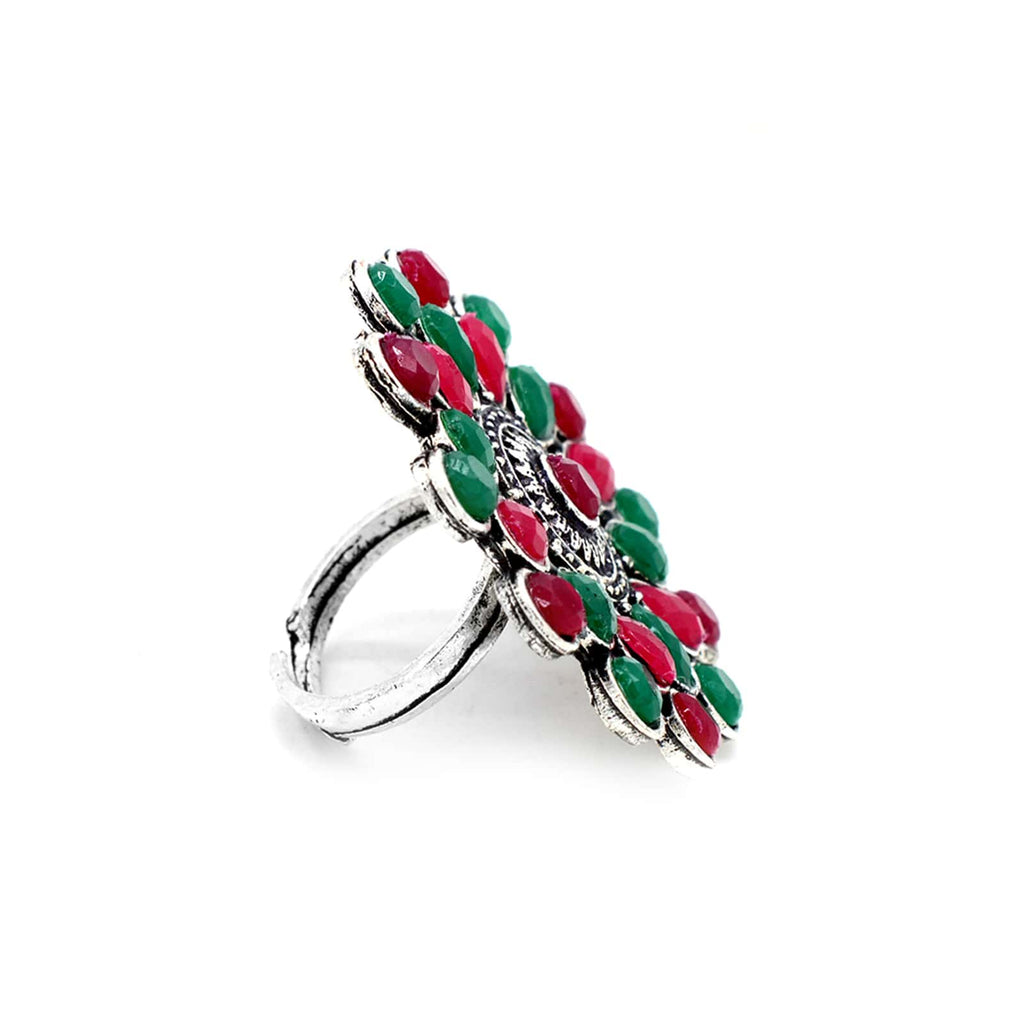 Vani Multi Colored Stone Silver Ring - Joker & Witch