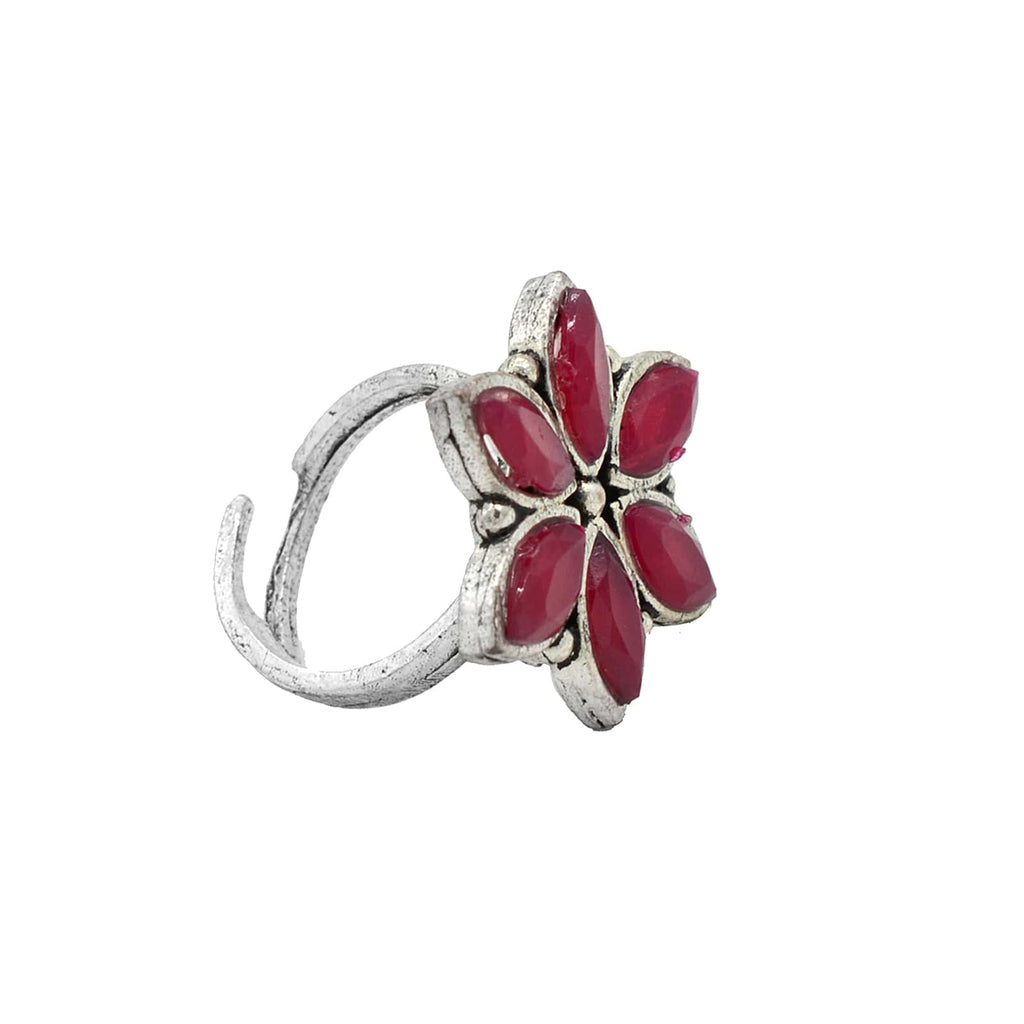 Ageless Pink Stone Silver Ring - Joker & Witch